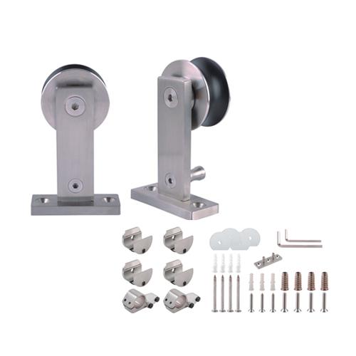 Sanipro Top mounted stainless steel double head roller sliding barn door hardware